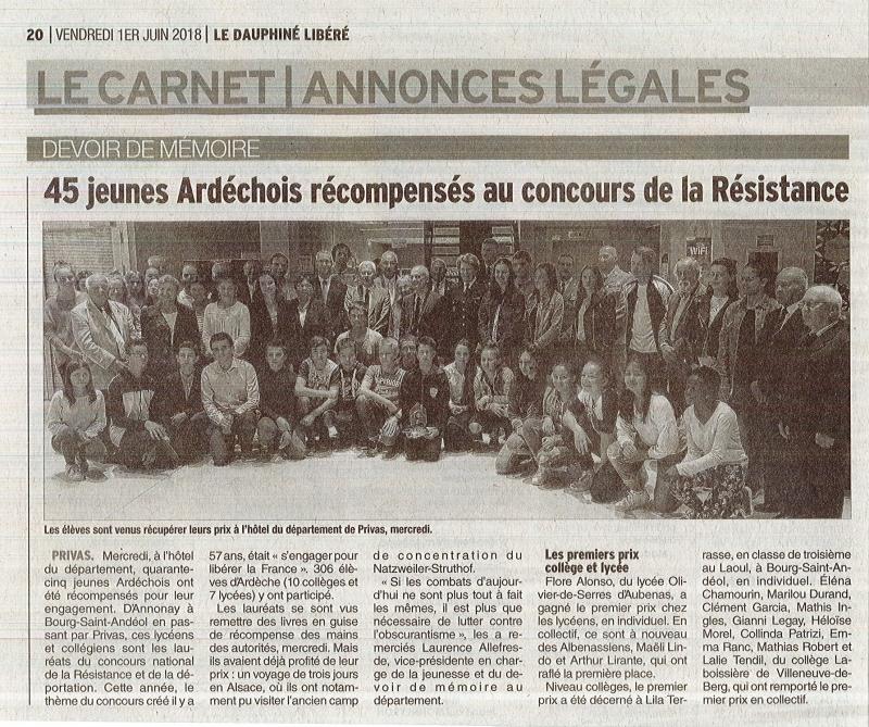 Travail sur le devoir de mémoire pour les lycées de Saint André au Teil
