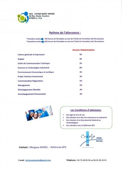 Lycée Saint André au Teil - plaquette BTS