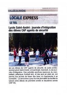 JOURNÉE D'INTÉGRATION AU LP SAINT ANDRÉ - LE TEIL