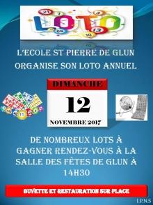 L'ECOLE ST PIERRE DE GLUN ORGANISE SON LOTO ANNUEL