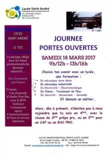 PORTES OUVERTES au LP SAINT-ANDRÉ LE TEIL le SAMEDI 18 MARS 2017 (9h-12h et 13h-16h).