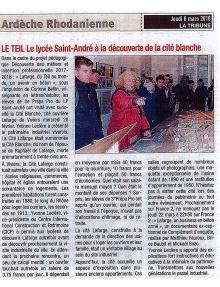 LP St André Le Teil visite de la Cité Blanche