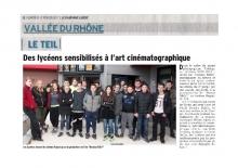 Des lycéens sensibilisés à l'art cinématographique - st André au Teil