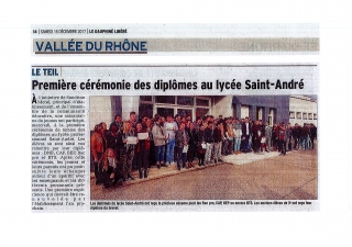 Cérémonie de remise des diplômes au LP Saint-André.